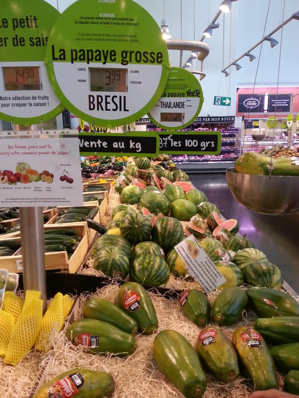 Preço de produtos brasileiros na França.