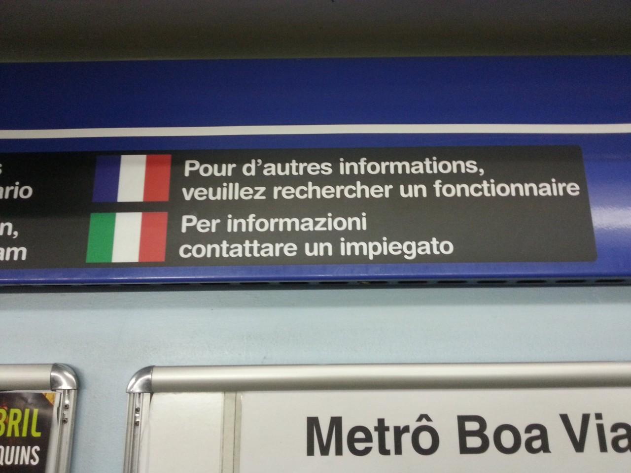 Erro de francês no metrô de São Paulo.